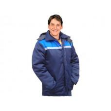 Куртка утепленная (синяя+василек) с капюшоном р.56-58 рост 170-176