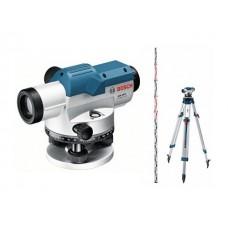 Нивелир оптический BOSCH GOL 20 D KIT со штативом и рейкой в кейсе (увеличение 20х, до 60 м, резьба 5/8